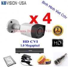Bộ 4 camera hồng ngoại ngoài trời HDCVI 1.0 Megapixel