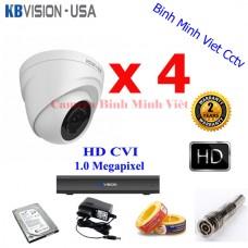 Trọn bộ 4 camera KB-MV102D4 HDCVI 1.0 Megapixel