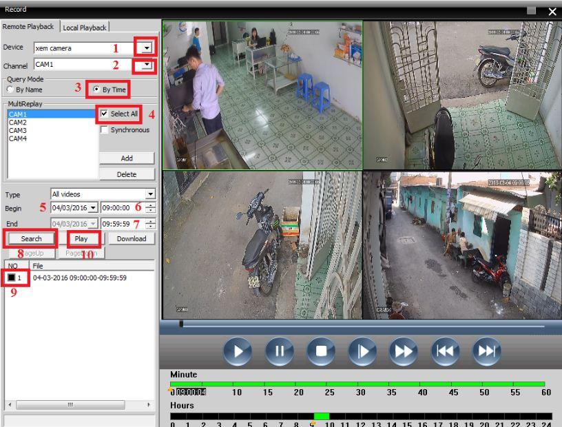 giao diện xem lại của phần mềm cms